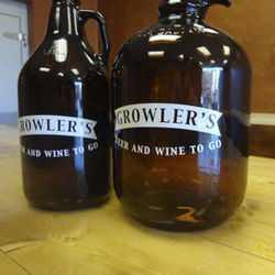 Full- and half-gallon growlers. Look for rotating designs in multiple sizes available in the store.