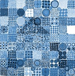 Circles within squares bordered by other squares render a colorful, quiltlike effect.