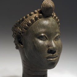 The cast-copper-alloy heads represent the rulers of Ife life.