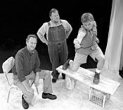 Corby Sullivan (right) plays an actor researching a play about farmers (Ralph Ehntholt and Rutherford Cravens).