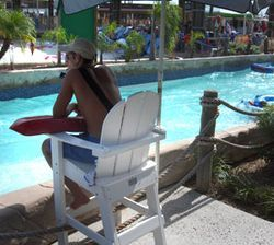 A lifeguard keeps a lookout one September afternoon at Schlitterbahn Galveston Island.