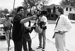 During Hollywood's love affair with Houston: Mark  Pellington directs Jeff Bridges on the set of  Arlington Road.