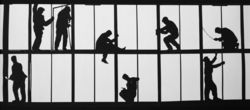 Alexander Abaza's 1973 photo of the stark black silhouettes of workers is a wonderful, graphically powerful image.