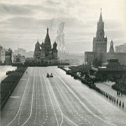 Emanuil Evzerikhin&#039;s dramatic 1950 photo depicts a parade celebrating the October Revolution.