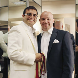 Jamie Nabozny — who won the first gay-bullying lawsuit against his school in 1996 — and fiancé Bo Shafer get measured for their wedding tuxes.