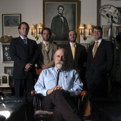 The house that DWI built: Gary Trichter, otherwise known as Buffalo Bill, has made a sterling legal career out of defending people accused of driving drunk. His Houston practice includes up-and-comer Mark Thiessen (far left) and Doug Murphy (far right), the drinking driver's best friend.