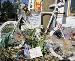 Although it was the second such ghost bike on the streets of Houston, Leigh Boone&#039;s was the most conspicuous, a beacon of remembrance on high-traffic Lower West&amp;shy;heimer. It was recently dismantled by persons unknown.