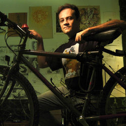 Local artist Johnathan Felton touts cycling as a natural high and stress reliever.