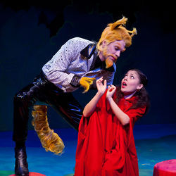 Justin Doran as the big bad Wolf and Nina Garcia as Li'L Red in Stages Repertory ­Theatre's Panto Red Riding Hood.