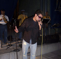 Mi Rumba&#039;s Raymond Galindo does his best to entertain the Party on the Plaza crowd.