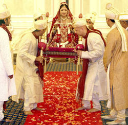 Sarika rides into her wedding ceremony on a dholi.
