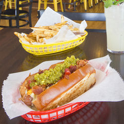Good Dog Houston's Ol' Zapata hot dog is so hefty, it requires a knife and fork and plenty of napkins.
