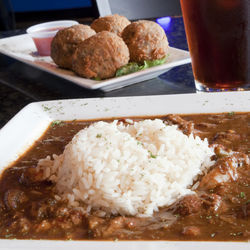 The gumbo and the boudin balls come from old family recipes.