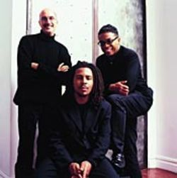 Herbie Hancock (right) leads fellow men in black  Michael Brecker (left) and Roy Hargrove toward new  directions in music.