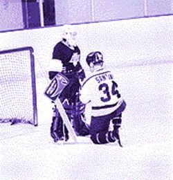 When boy meets goalie: Steve Santini proposes to Pam Berry.