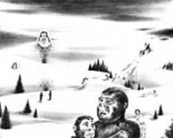 Ah, the wonder of a No. 2 pencil: In Robyn O'Neil's hand it can put monkey people in snowscapes.