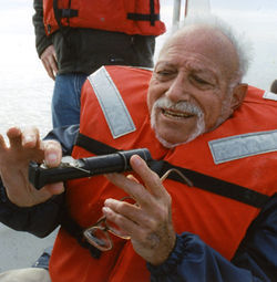 Scientist Sammy Ray measures Galveston Bay salinity, which at high levels can harm oysters.