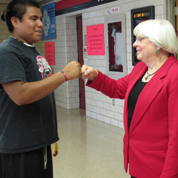 Dr. Bertie Simmons, Furr principal, prides herself on knowing all her students, like junior Brandon Edge.