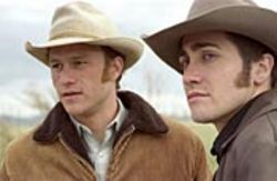 Cowpokes who poke each other: Heath Ledger and 