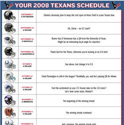 See what&#039;s in store this season with our version of the Texans&#039; 2008 schedule.