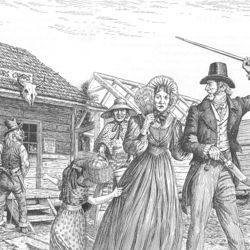 In a scene typical of early Houston, a slave woman tries not to laugh as three well-armed and drunken &quot;rowdy loafers&quot; harass and alarm a respectable family from the upper crust. A similar confrontation led to Houston&#039;s first publicized public hanging.