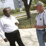 Earnest Dyer reaches out to Russell Parish, a homeless man in Hermann Park. As the social services coordinator for St. Vincent de Paul, Dyer now sees people like himself facing homelessness. Former donors are even asking for help.