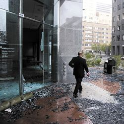 Dozens of windows on the J.P. Morgan Chase Tower were shattered.