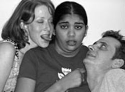 Anne Zimmerman (left) and Tanya Fazal star in dos  chicas's tongue-in-cheek production.