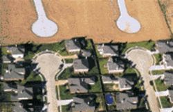 MacLean's overhead images show the before and after of development in West Houston Subdivision.