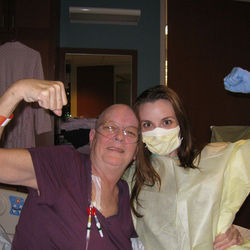 Days and nights at the bedside of her mother (left) following chemotherapy treatments helped shape ­Evans's views on radiation.