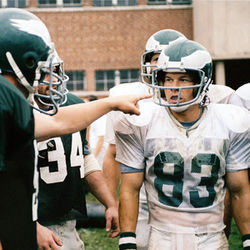Vince Papale (Mark Wahlberg, right) remains the oldest rookie ever to start in the NFL.