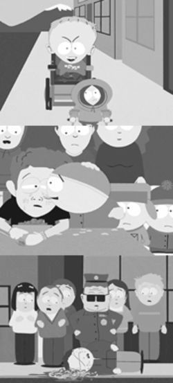 Scenes from a fifth season:  Timmy seeks revenge, Cartman licks the tears of victory, and the words of curse can kill.