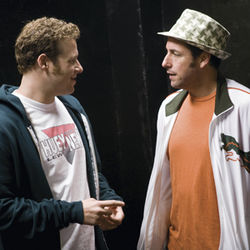The up-and-comer and the pro, played by Seth Rogen and Adam Sandler.