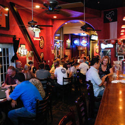 The Mezzanine Lounge gets packed for poker tournaments, and happy hour runs seven days a week.