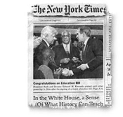 Unidentified Black Male: The road to national prominence continues  to be a bumpy one  for former Houston school superintendent Rod Paige. The New York Times's coverage of the education-bill signing January 9 had this front-page photo  of Senator Edward Kennedy, President Bush and some other guy in the middle.