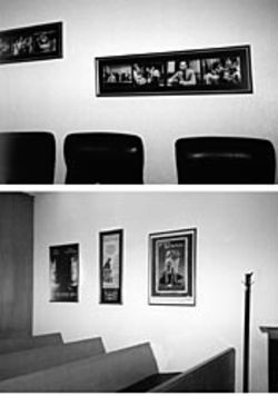 Olsen tries to create a warm, welcoming feeling in his courtroom using movie stills and posters.