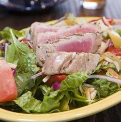 The grilled ahi tuna salad is a good choice.