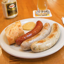 The kitchen trots out endless sausage platters during Oktoberfest.