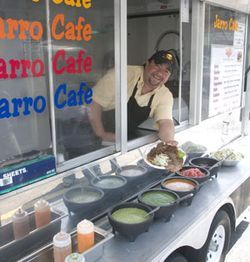 The salsa bar at Jarro Caf puts this taco trailer on top.