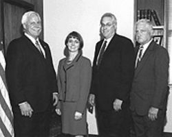 Harris with her heavyweight supporters.