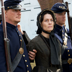 Mary Surratt (ROBIN WRIGHT),was the lone woman arrested and charged with conspiring to kill President Lincoln.
