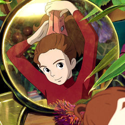 Arrietty (voiced by Bridgit Mendler) is a four-inch-high humanoid who lives beneath the floorboards.