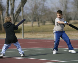 The next generation: Mason Bollinger (left) challenges his brother Draven Bollinger.