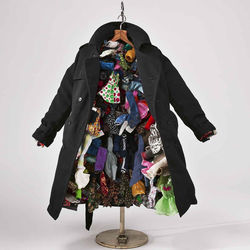 The artist makes small-scale versions of old clothes, hats, shoes and underwear.