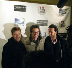 (L-r) Ewan McGregor, Jim Carrey and Rodrigo Santoro, who starred as Russell's first boyfriend, got together prior to the screening of the film at Sundance.