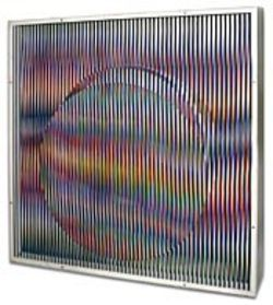 Carlos Cruz-Diez's Chromointerference v. 1  vibrates with kinetic color.