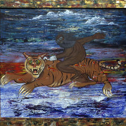 Ride the Tiger&#039;s bright vivid colors, bold swaths of paint and surreal imagery will draw you in.