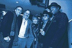 "From left to right: Fran Christina, Tary Owens, Maryann Price, Doug Sahm and Vernon ""Spot"" Burnett at a Holland blues festival."