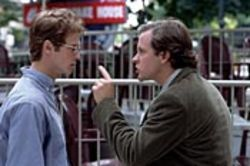 Chuck Lane (Peter Sarsgaard, right) sees straight through Stephen Glass (Hayden Christensen).