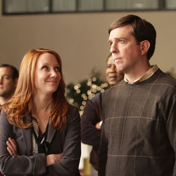 The good-time gal and the country mouse: Anne Heche and Ed Helms.